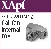 Flat Fan, Air atomising, Internal mix nozzle (XApf)